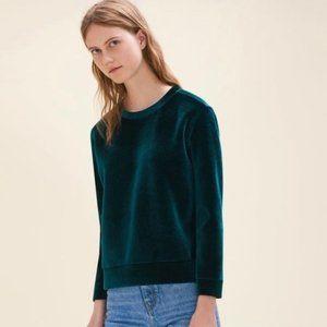 NWOT Maje green velvet sweatshirt